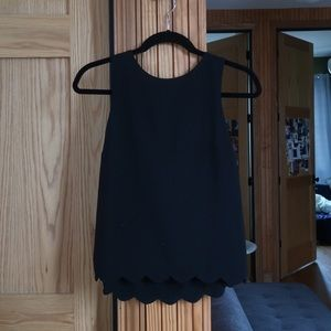Elegant Black Scalloped Trimmed Chiffon Top!